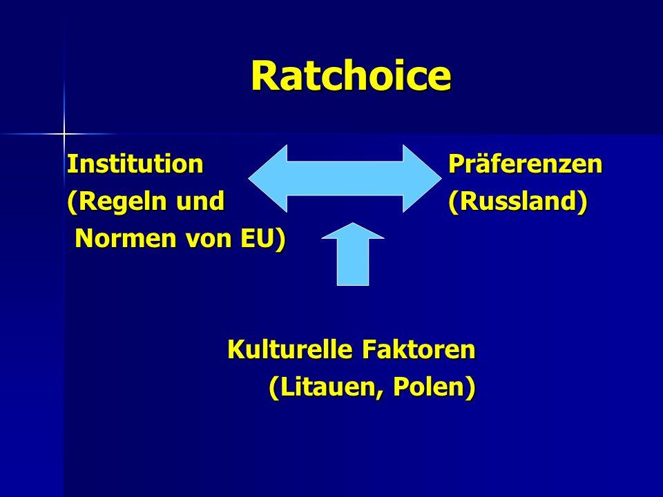 Ratchoice Institution (Regeln und Normen von EU) Normen von EU) Kulturelle Faktoren (Litauen, Polen) Präferenzen(Russland)