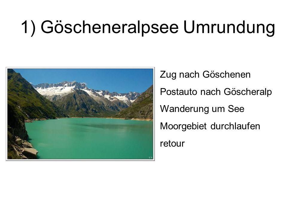 1) Göscheneralpsee Umrundung Zug nach Göschenen Postauto nach Göscheralp Wanderung um See Moorgebiet durchlaufen retour