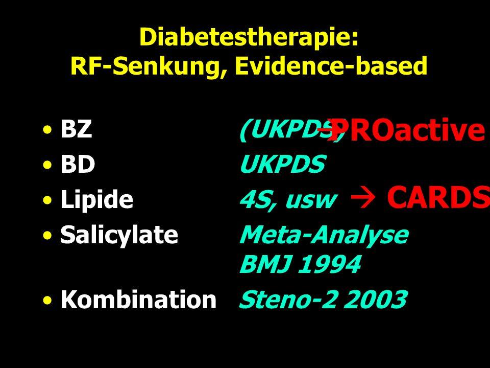 Diabetestherapie: RF-Senkung, Evidence-based BZ(UKPDS) BDUKPDS Lipide4S, usw SalicylateMeta-Analyse BMJ 1994 KombinationSteno-2 2003 PROactive CARDS