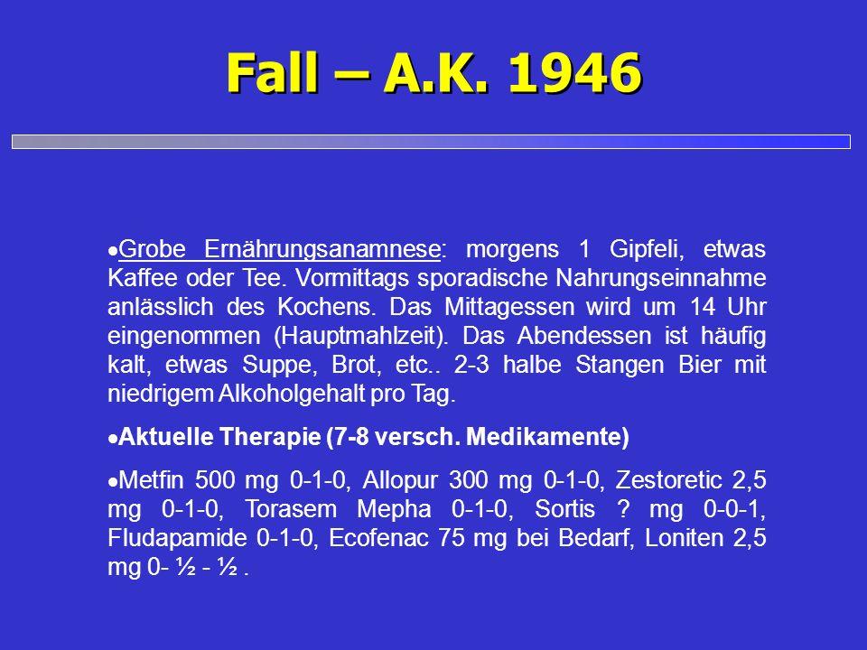 Fall – A.K. 1946 Grobe Ernährungsanamnese: morgens 1 Gipfeli, etwas Kaffee oder Tee. Vormittags sporadische Nahrungseinnahme anlässlich des Kochens. D