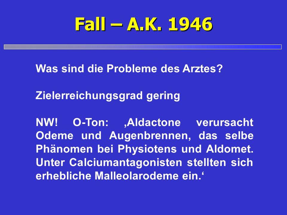 Fall – A.K. 1946 Was sind die Probleme des Arztes? Zielerreichungsgrad gering NW! O-Ton: Aldactone verursacht Odeme und Augenbrennen, das selbe Phänom
