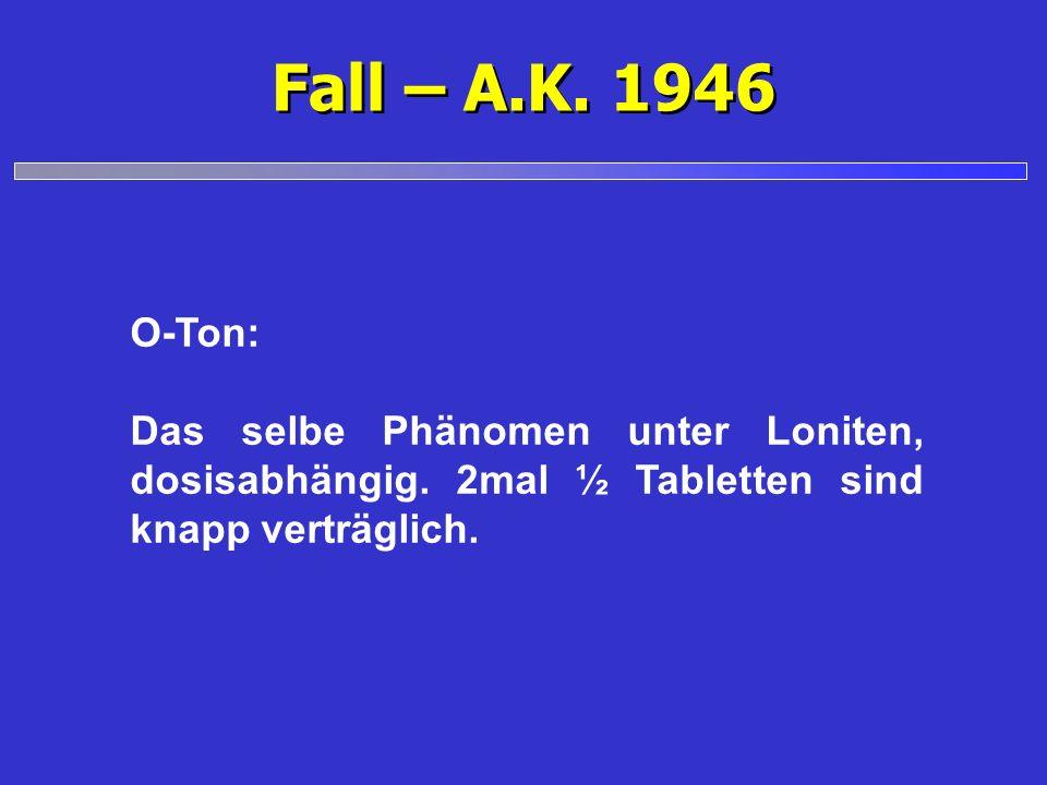 Fall – A.K. 1946 O-Ton: Das selbe Phänomen unter Loniten, dosisabhängig. 2mal ½ Tabletten sind knapp verträglich.