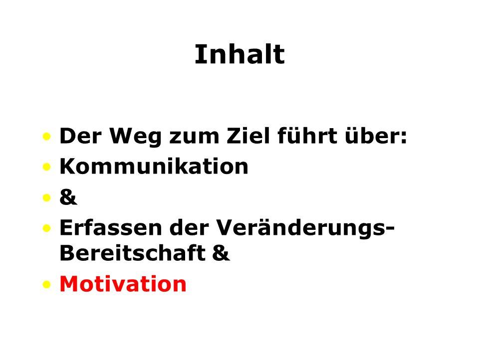 Inhalt Der Weg zum Ziel führt über: Kommunikation & Erfassen der Veränderungs- Bereitschaft & Motivation
