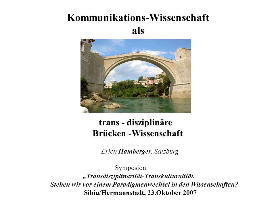MODERNE / \ KOMMUNIKATION und ERKENNTNIS (Verschränkung Mit-SEIN/Differenzierung) / \ / \ KOMM.AKT und KOMM.AUSDRUCK SEINS-Erkenntnis und SACH-Erkenntnis ( (Unmittelbarkeit-/Medium-Verschränkung) ( Zustand/Gegenstand -Verschränkung) (nach Hamberger 2006)