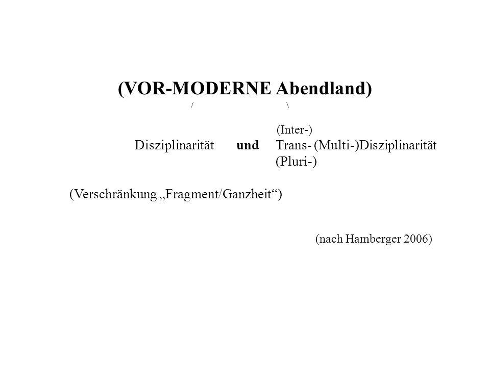 (VOR-MODERNE Abendland) / \ (Inter-) Disziplinarität und Trans- (Multi-)Disziplinarität (Pluri-) (Verschränkung Fragment/Ganzheit) (nach Hamberger 2006)