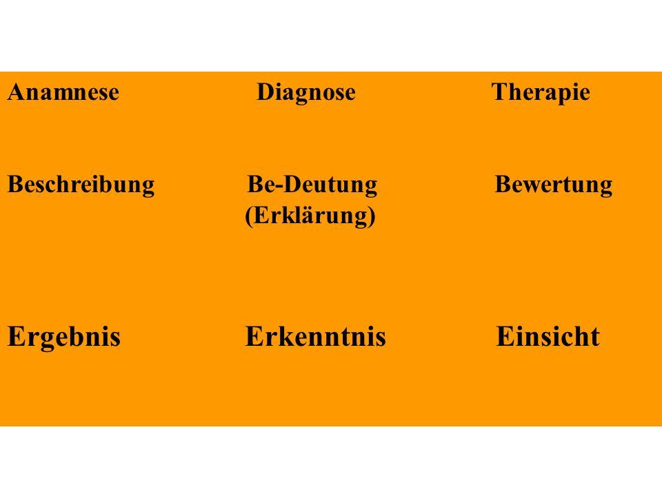 Anamnese Diagnose Therapie Beschreibung Be-Deutung Bewertung (Erklärung) Ergebnis Erkenntnis Einsicht