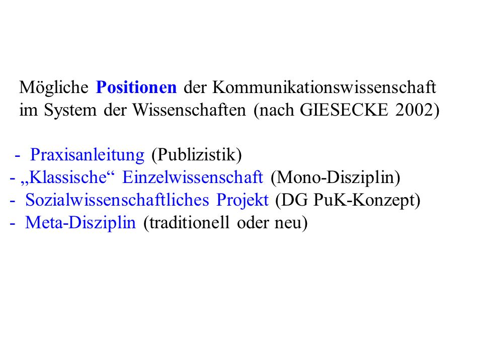 Mögliche Positionen der Kommunikationswissenschaft im System der Wissenschaften (nach GIESECKE 2002) - Praxisanleitung (Publizistik) - Klassische Einz