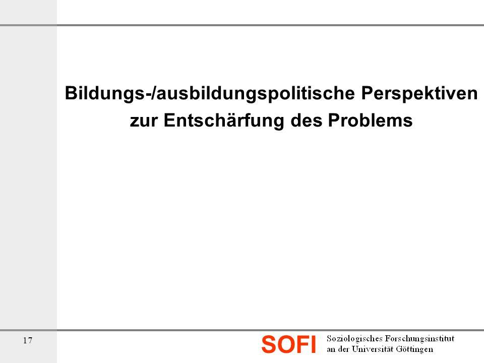 SOFI 17 Bildungs-/ausbildungspolitische Perspektiven zur Entschärfung des Problems