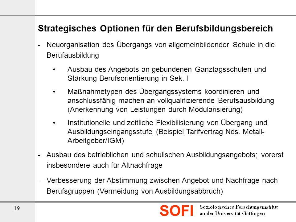 SOFI 19 Strategisches Optionen für den Berufsbildungsbereich - Neuorganisation des Übergangs von allgemeinbildender Schule in die Berufausbildung Ausb