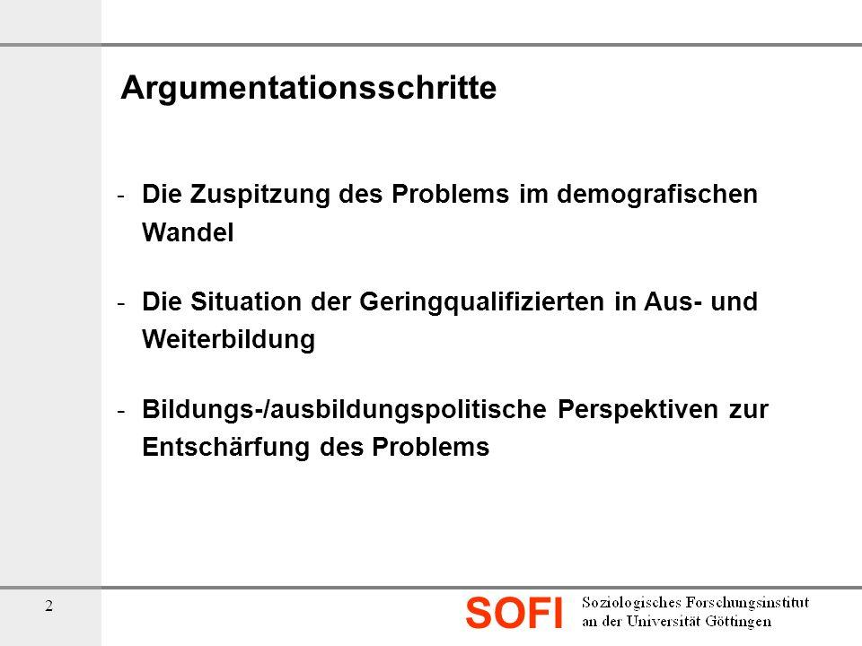 SOFI 2 Argumentationsschritte - Die Zuspitzung des Problems im demografischen Wandel - Die Situation der Geringqualifizierten in Aus- und Weiterbildun