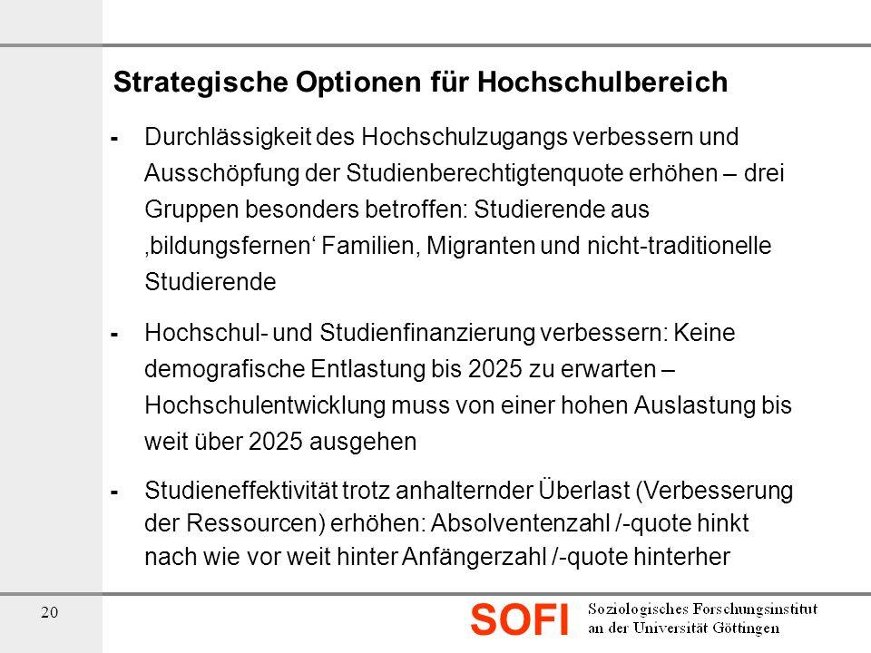 SOFI 20 Strategische Optionen für Hochschulbereich - Durchlässigkeit des Hochschulzugangs verbessern und Ausschöpfung der Studienberechtigtenquote erh