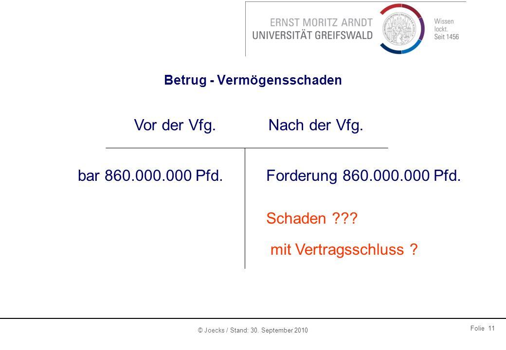 © Joecks / Stand: 30. September 2010 Folie 11 Betrug - Vermögensschaden Vor der Vfg.Nach der Vfg. bar 860.000.000 Pfd.Forderung 860.000.000 Pfd. Schad