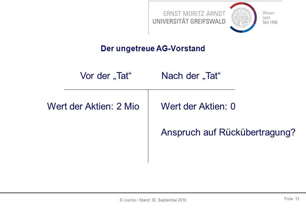 © Joecks / Stand: 30. September 2010 Folie 13 Der ungetreue AG-Vorstand Vor der TatNach der Tat Wert der Aktien: 2 MioWert der Aktien: 0 Anspruch auf