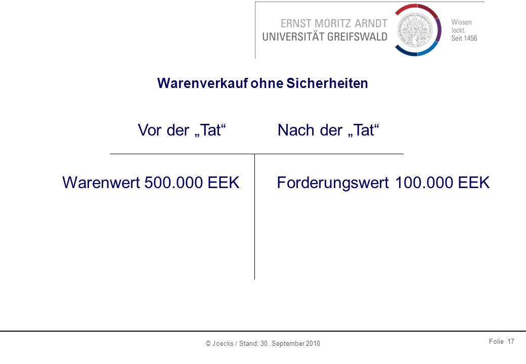 © Joecks / Stand: 30. September 2010 Folie 17 Warenverkauf ohne Sicherheiten Vor der TatNach der Tat Warenwert 500.000 EEKForderungswert 100.000 EEK