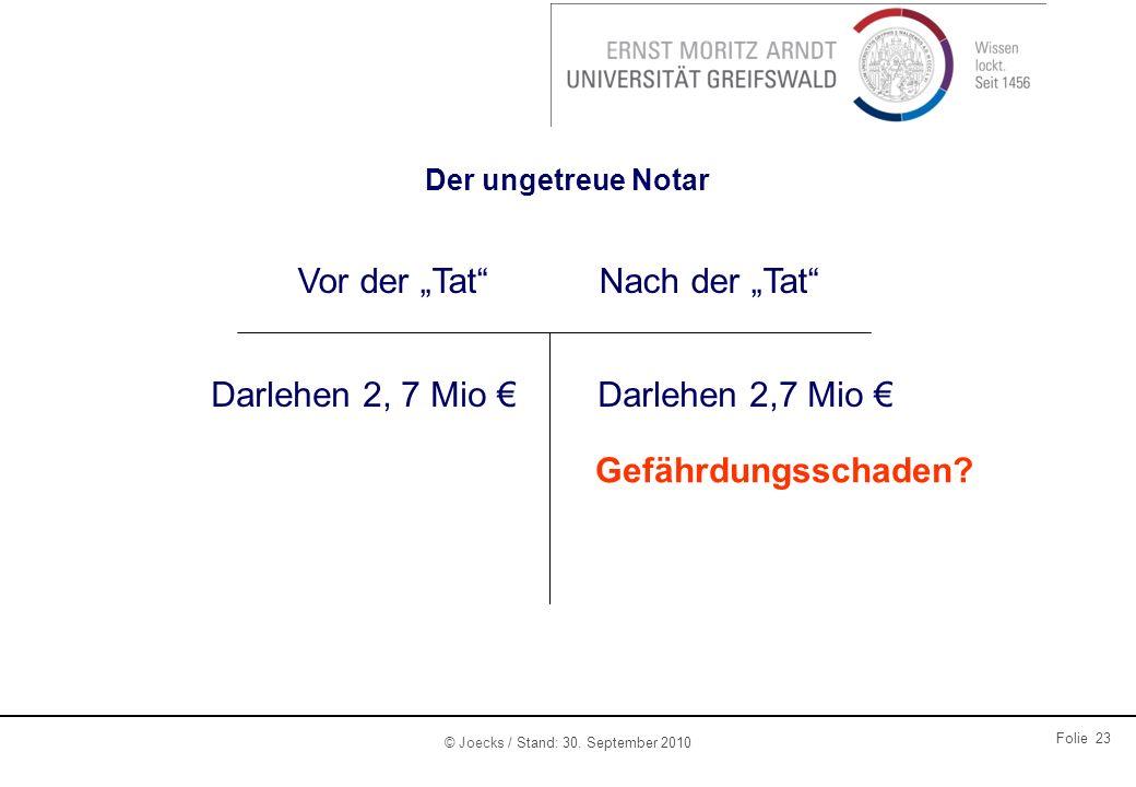 © Joecks / Stand: 30. September 2010 Folie 23 Der ungetreue Notar Vor der TatNach der Tat Darlehen 2, 7 Mio Gefährdungsschaden?