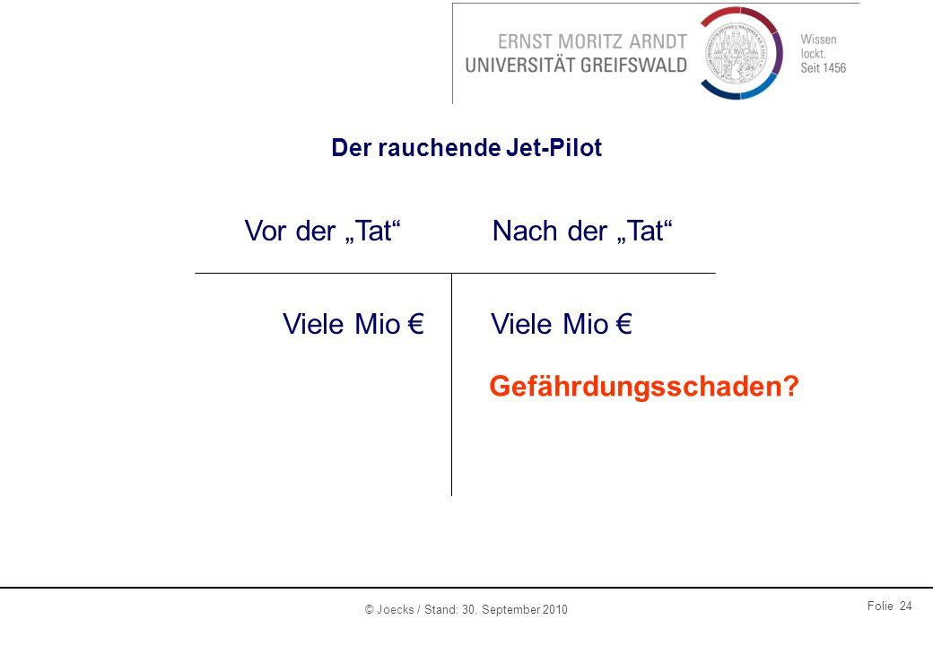 © Joecks / Stand: 30. September 2010 Folie 24 Der rauchende Jet-Pilot Vor der TatNach der Tat Viele Mio Gefährdungsschaden?