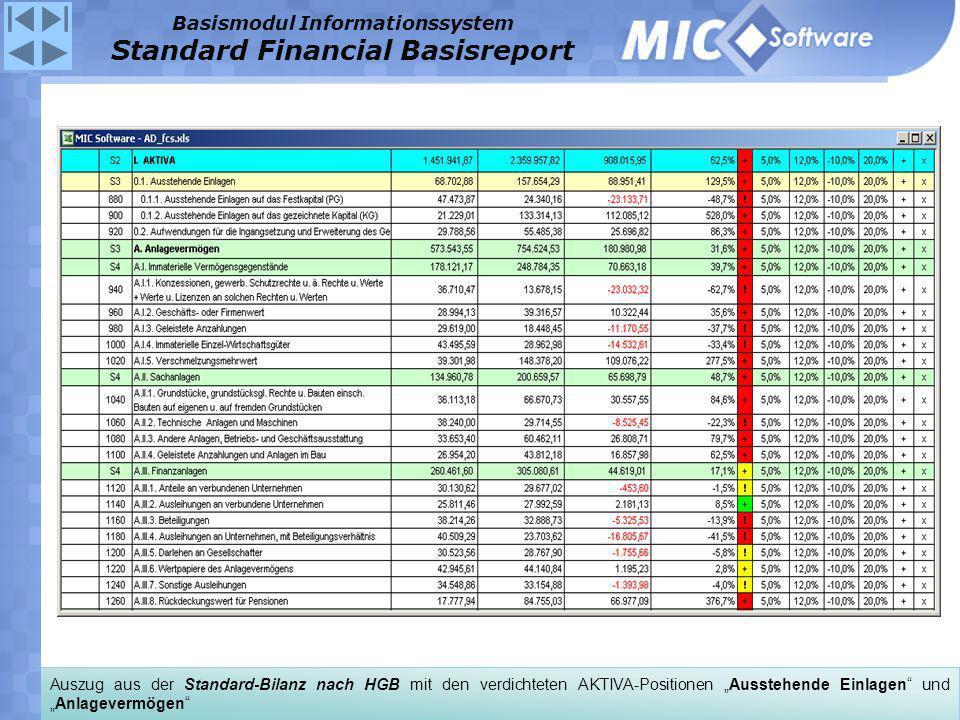 Auszug aus der Standard-Bilanz nach HGB mit den verdichteten AKTIVA-Positionen Ausstehende Einlagen undAnlagevermögen Basismodul Informationssystem St