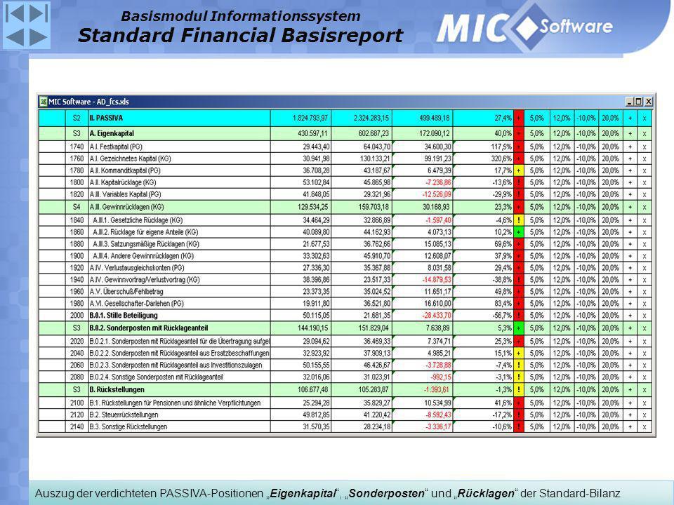 Auszug der verdichteten PASSIVA-Positionen Eigenkapital, Sonderposten und Rücklagen der Standard-Bilanz Basismodul Informationssystem Standard Financi