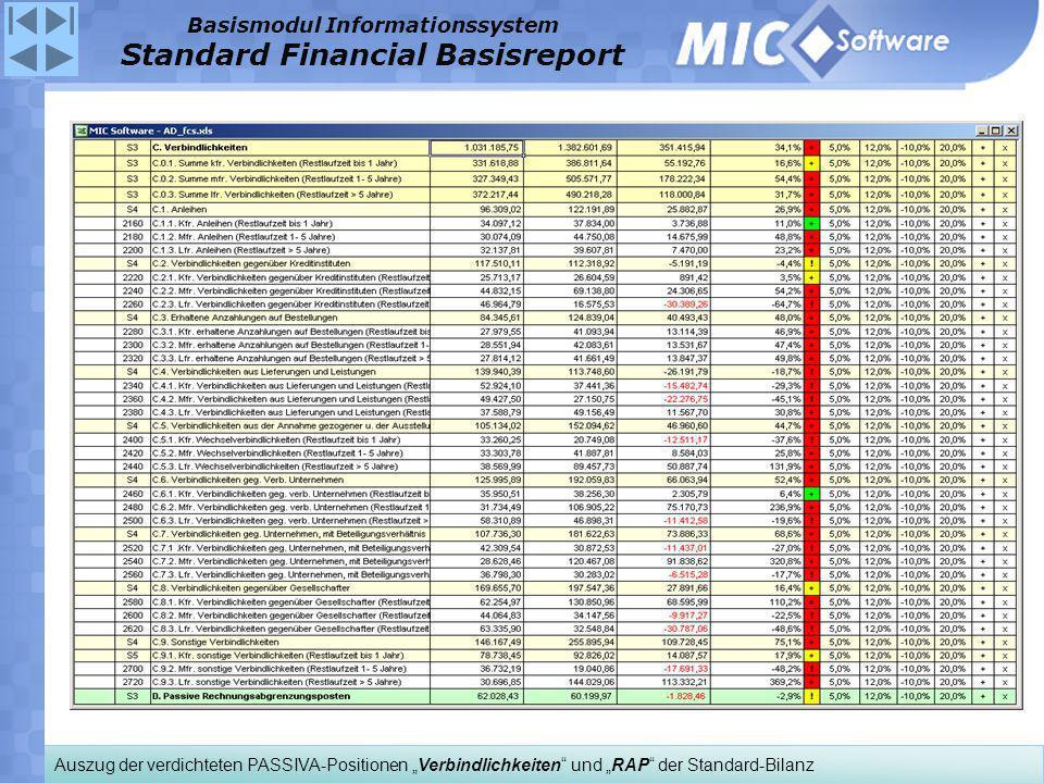 Auszug der verdichteten PASSIVA-Positionen Verbindlichkeiten und RAP der Standard-Bilanz Basismodul Informationssystem Standard Financial Basisreport