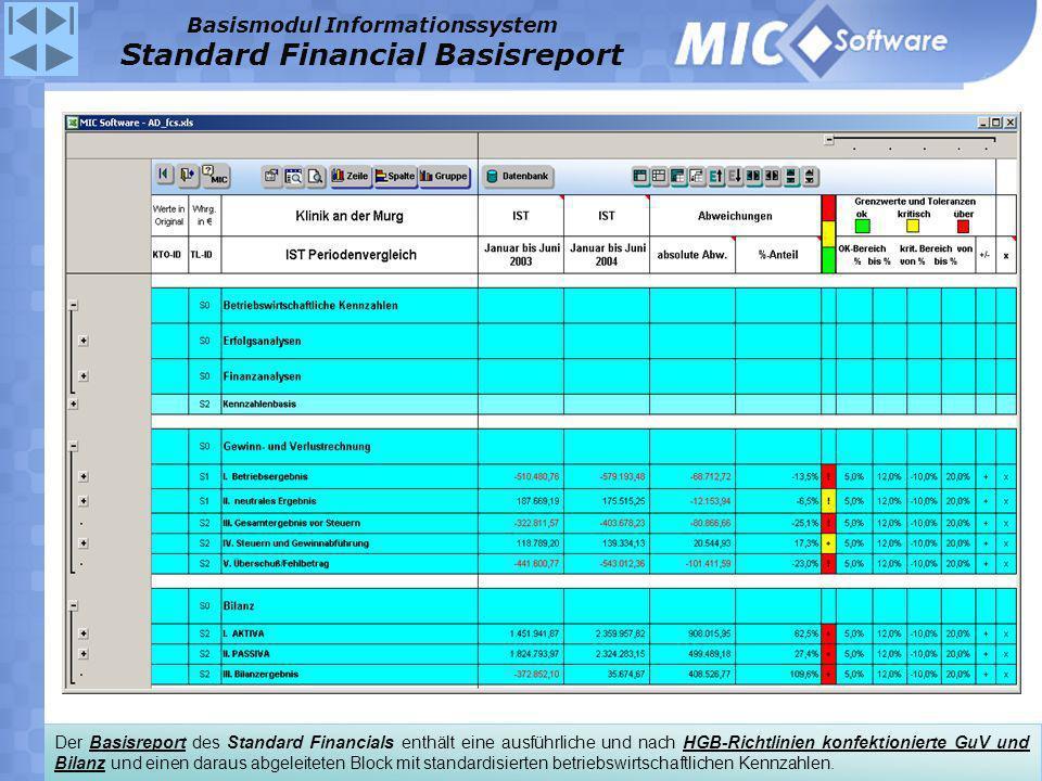 Der Basisreport des Standard Financials enthält eine ausführliche und nach HGB-Richtlinien konfektionierte GuV und Bilanz und einen daraus abgeleitete