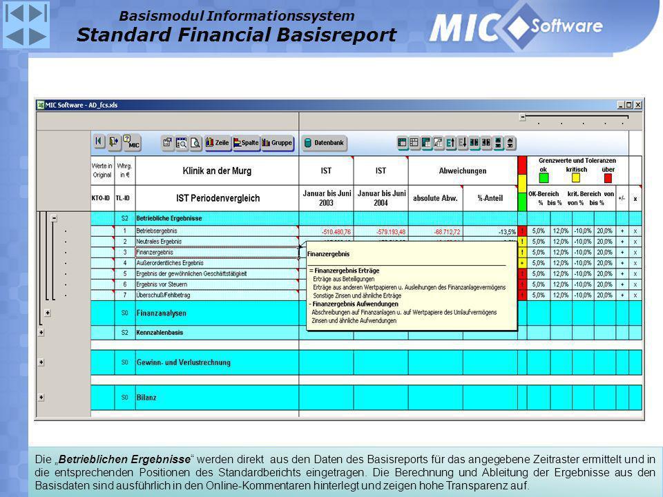 Die Betrieblichen Ergebnisse werden direkt aus den Daten des Basisreports für das angegebene Zeitraster ermittelt und in die entsprechenden Positionen