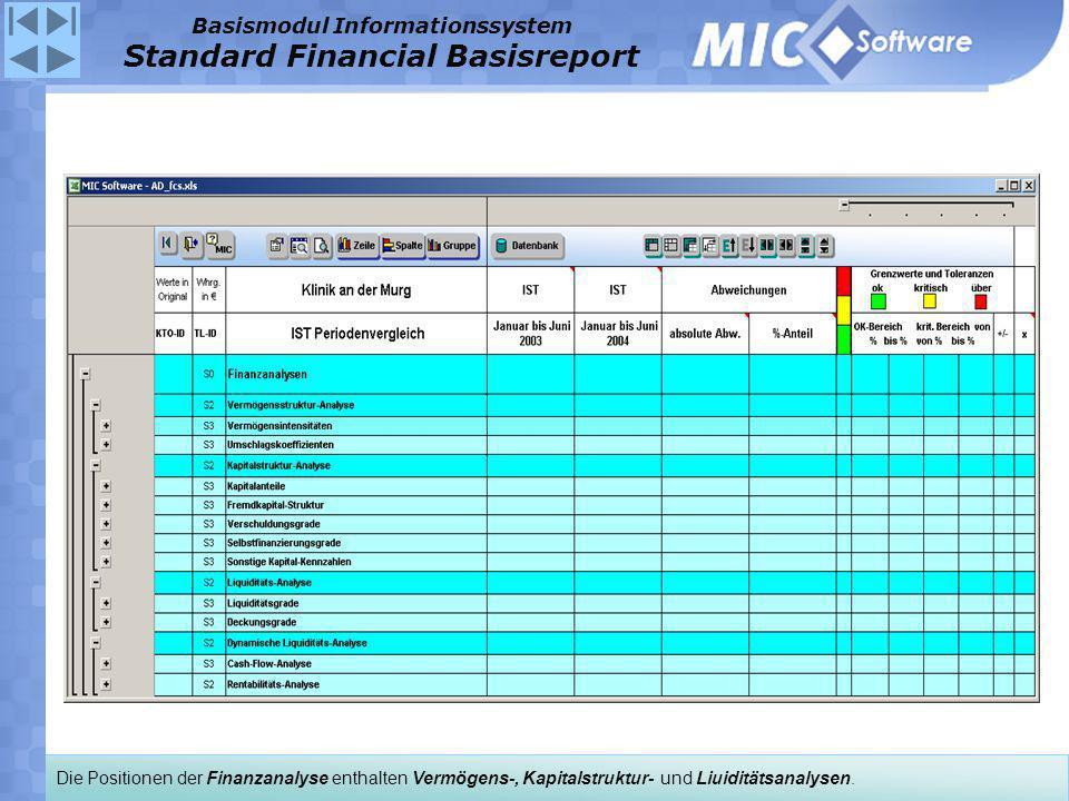 Die Positionen der Finanzanalyse enthalten Vermögens-, Kapitalstruktur- und Liuiditätsanalysen. Basismodul Informationssystem Standard Financial Basis
