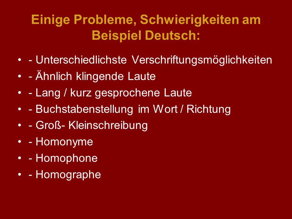 Einige Probleme, Schwierigkeiten am Beispiel Deutsch: - Unterschiedlichste Verschriftungsmöglichkeiten - Ähnlich klingende Laute - Lang / kurz gesproc