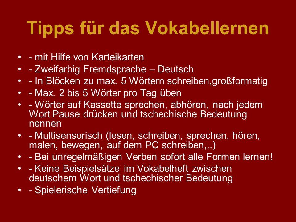 Tipps für das Vokabellernen - mit Hilfe von Karteikarten - Zweifarbig Fremdsprache – Deutsch - In Blöcken zu max. 5 Wörtern schreiben,großformatig - M