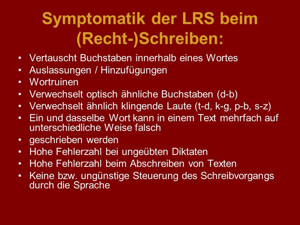 Symptomatik der LRS beim (Recht-)Schreiben: Vertauscht Buchstaben innerhalb eines Wortes Auslassungen / Hinzufügungen Wortruinen Verwechselt optisch ä