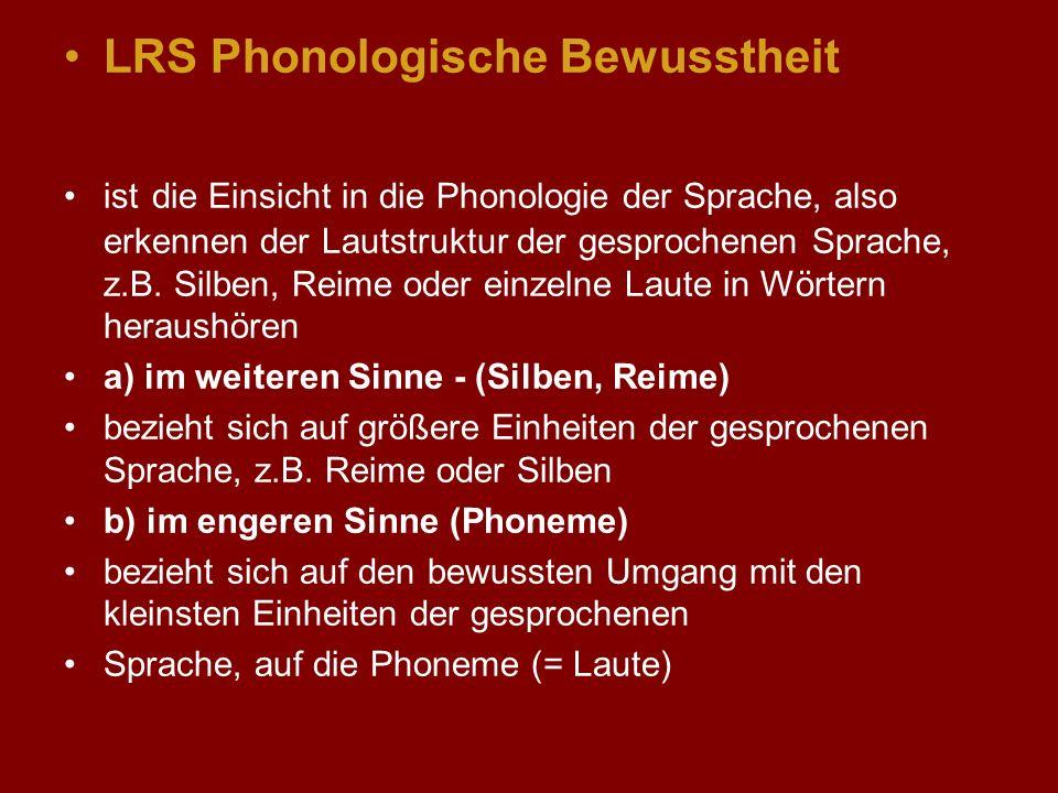 LRS Phonologische Bewusstheit ist die Einsicht in die Phonologie der Sprache, also erkennen der Lautstruktur der gesprochenen Sprache, z.B. Silben, Re