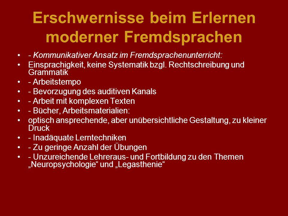 LRS und Fremdsprachen Es zeigt sich für Schwierigkeiten in den Fremdsprachen folgendes Bild: - Wenn in den Fremdsprachen ausgeprägte Schwierigkeiten auftreten, waren fast immer auch schon beim Erlernen der tschechischen Schriftsprache Schwierigkeiten zu beobachten.