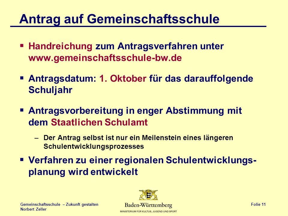 Folie 11 Gemeinschaftsschule – Zukunft gestalten Norbert Zeller Antrag auf Gemeinschaftsschule Handreichung zum Antragsverfahren unter www.gemeinschaf