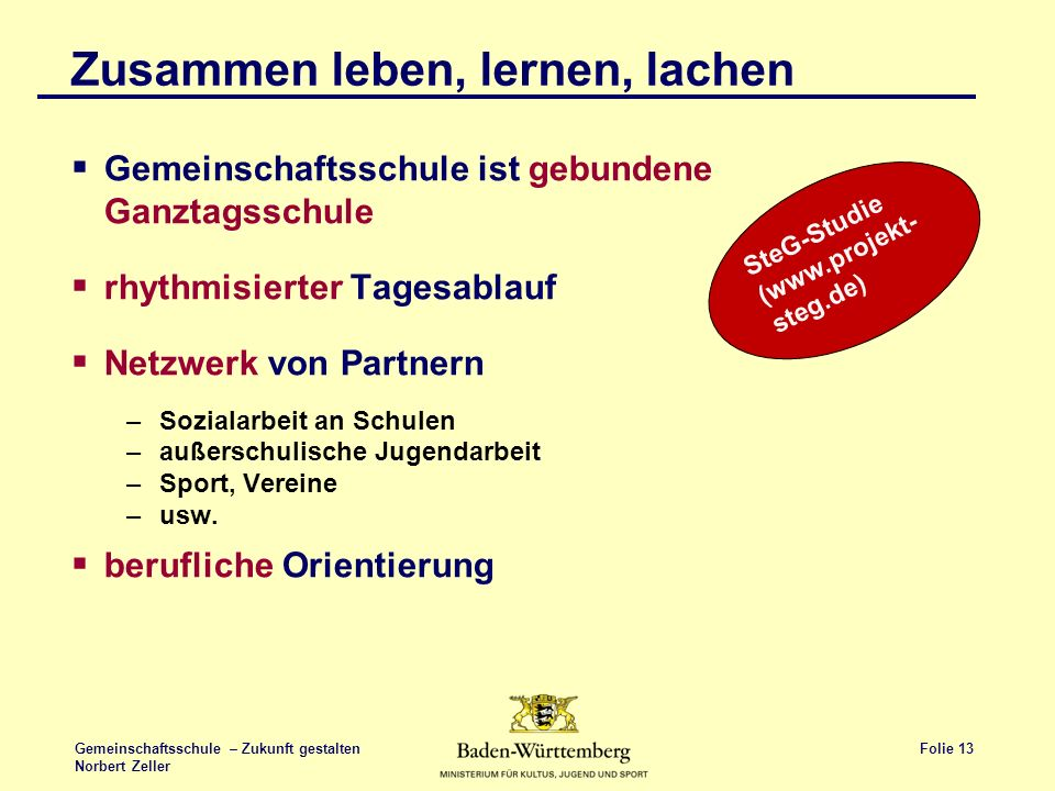 Folie 13 Gemeinschaftsschule – Zukunft gestalten Norbert Zeller Zusammen leben, lernen, lachen Gemeinschaftsschule ist gebundene Ganztagsschule rhythm
