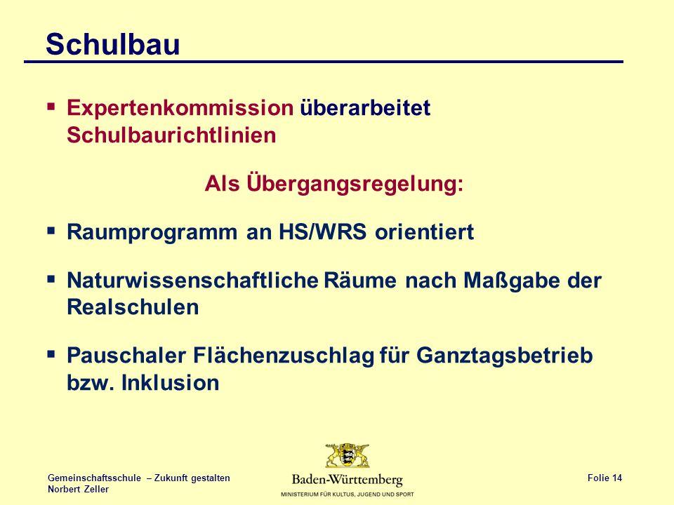 Folie 14 Gemeinschaftsschule – Zukunft gestalten Norbert Zeller Schulbau Expertenkommission überarbeitet Schulbaurichtlinien Als Übergangsregelung: Ra