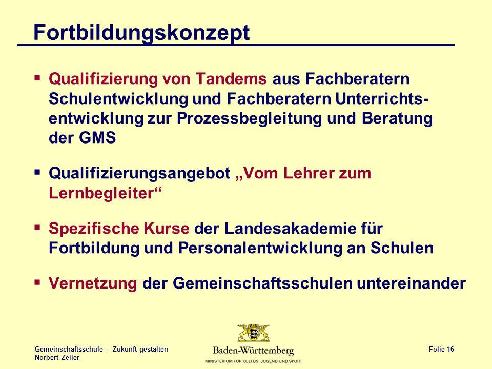 Folie 16 Gemeinschaftsschule – Zukunft gestalten Norbert Zeller Fortbildungskonzept Qualifizierung von Tandems aus Fachberatern Schulentwicklung und F