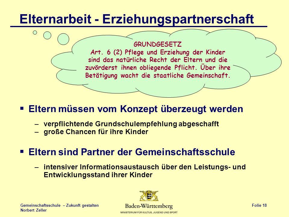Folie 18 Gemeinschaftsschule – Zukunft gestalten Norbert Zeller Elternarbeit - Erziehungspartnerschaft Eltern müssen vom Konzept überzeugt werden –ver