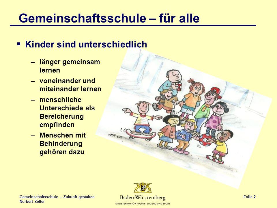 Folie 2 Gemeinschaftsschule – Zukunft gestalten Norbert Zeller Gemeinschaftsschule – für alle Kinder sind unterschiedlich –länger gemeinsam lernen –vo