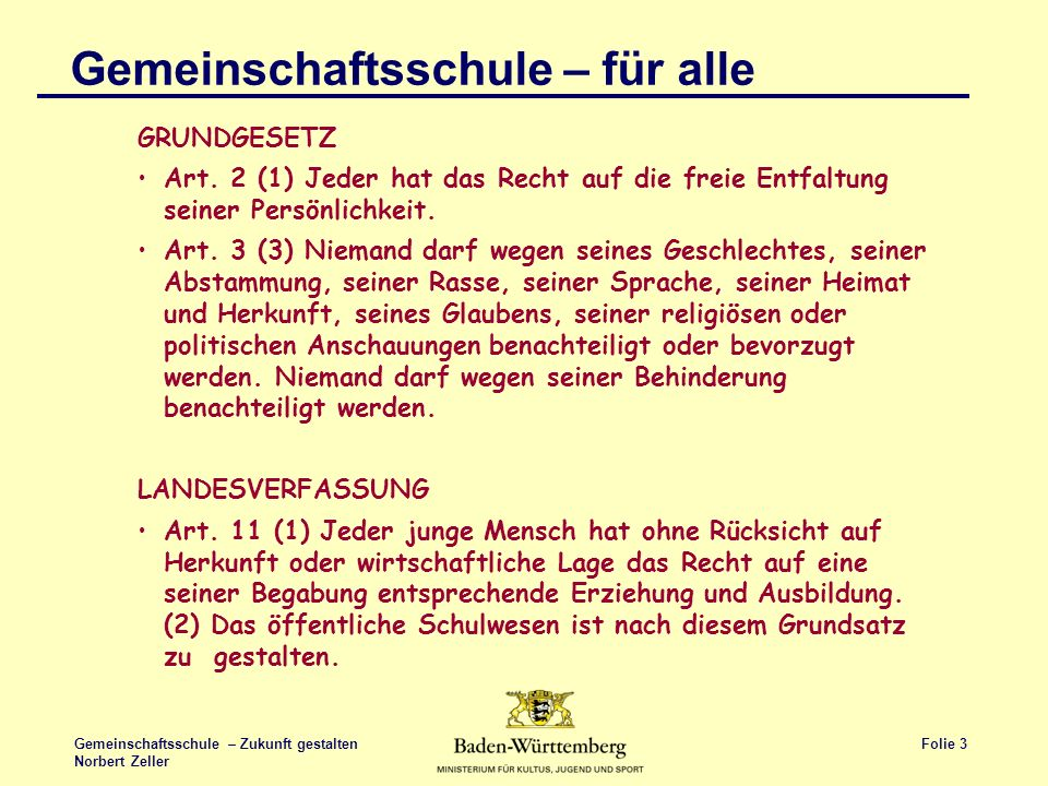 Folie 3 Gemeinschaftsschule – Zukunft gestalten Norbert Zeller Gemeinschaftsschule – für alle GRUNDGESETZ Art. 2 (1) Jeder hat das Recht auf die freie