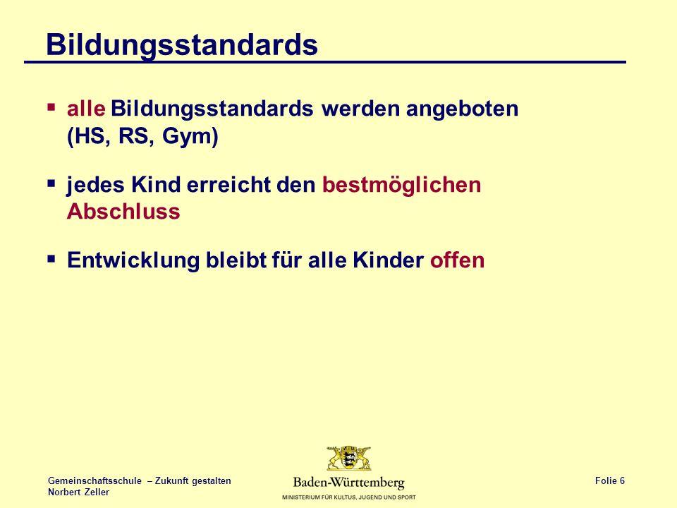 Folie 6 Gemeinschaftsschule – Zukunft gestalten Norbert Zeller Bildungsstandards alle Bildungsstandards werden angeboten (HS, RS, Gym) jedes Kind erre