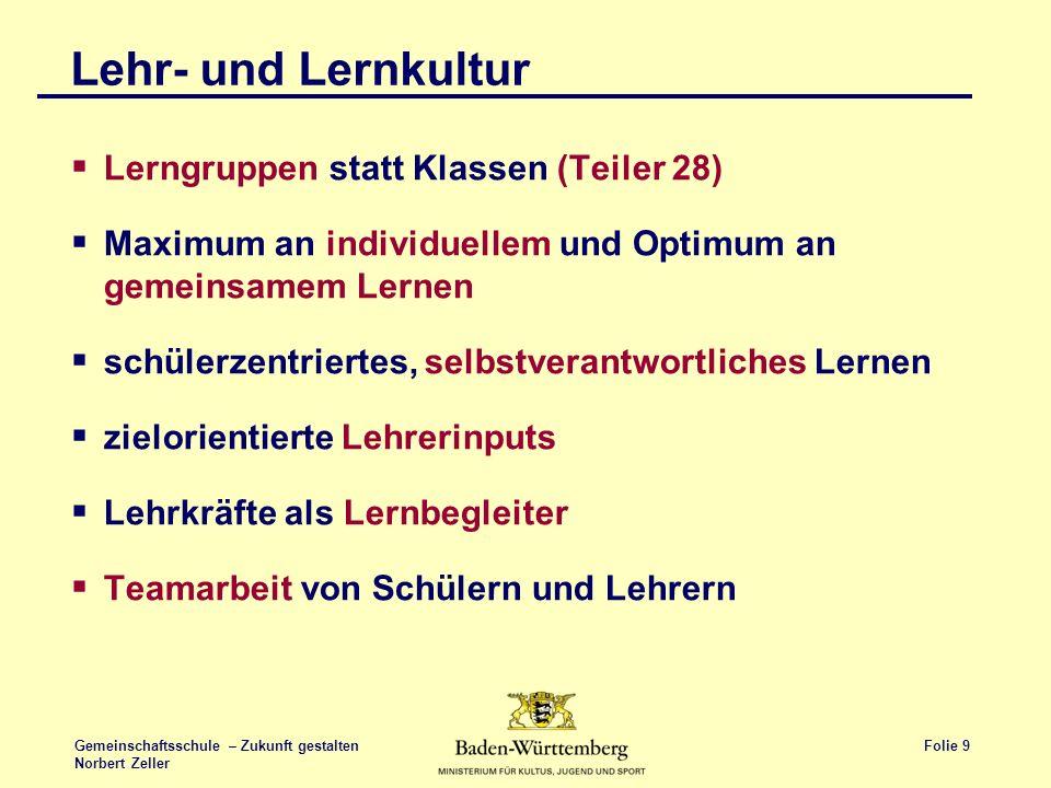 Folie 9 Gemeinschaftsschule – Zukunft gestalten Norbert Zeller Lehr- und Lernkultur Lerngruppen statt Klassen (Teiler 28) Maximum an individuellem und