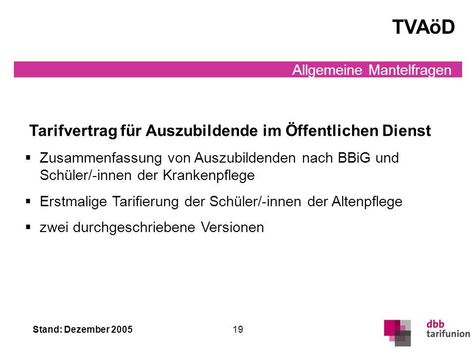 Stand: Dezember 2005 18 Allgemeine Mantelfragen Tarifvertrag soziale Absicherung/ Rationalisierungsschutz TV TV soziale Absicherung/RatSch TV Die Tari