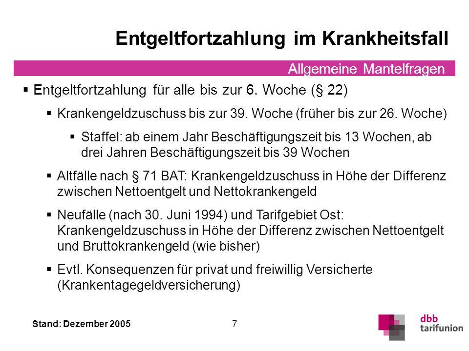 Stand: Dezember 2005 6 Allgemeine Mantelfragen sog. Unkündbarkeit Unkündbarkeit (§ 34 Abs.2) 15 Beschäftigungsjahre und 40 Lebensjahre Kündigung danac