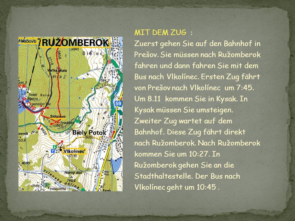 MIT DEM ZUG : Zuerst gehen Sie auf den Bahnhof in Prešov. Sie müssen nach Ružomberok fahren und dann fahren Sie mit dem Bus nach Vlkolínec. Ersten Zug