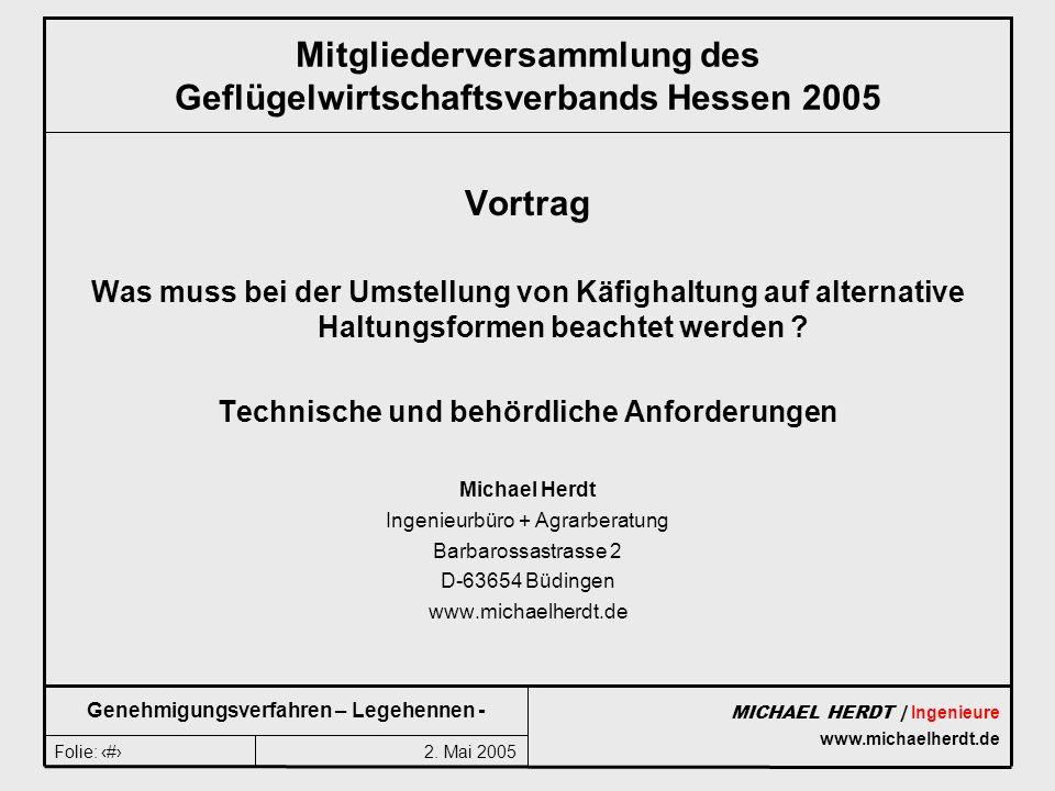 2. Mai 2005Folie: 1 MICHAEL HERDT | Ingenieure www.michaelherdt.de Genehmigungsverfahren – Legehennen - Mitgliederversammlung des Geflügelwirtschaftsv