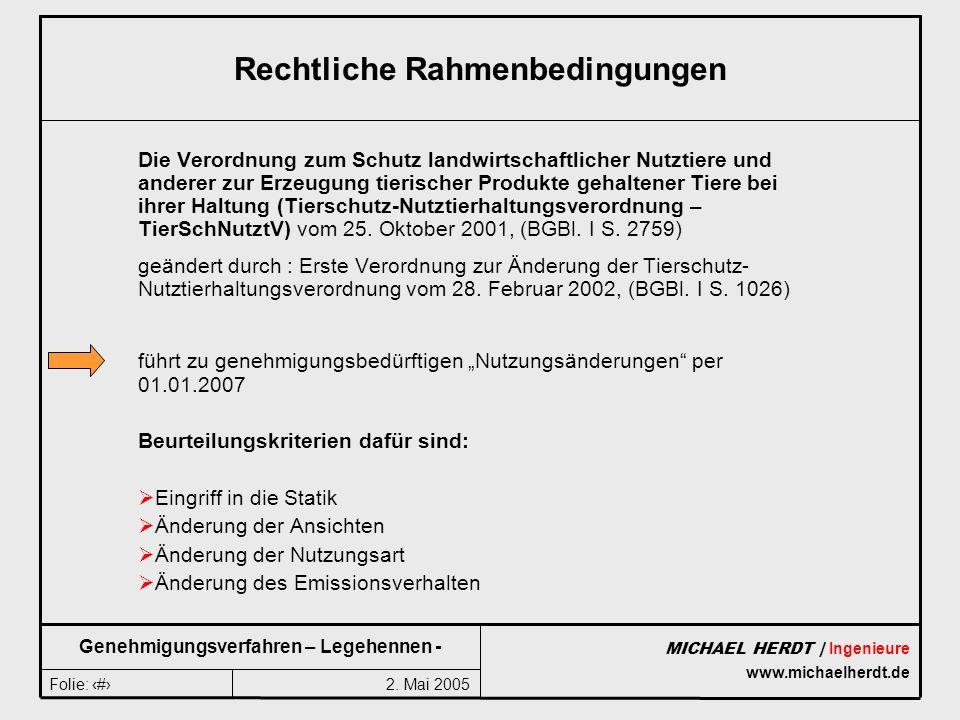 2. Mai 2005Folie: 2 MICHAEL HERDT | Ingenieure www.michaelherdt.de Genehmigungsverfahren – Legehennen - Rechtliche Rahmenbedingungen Die Verordnung zu