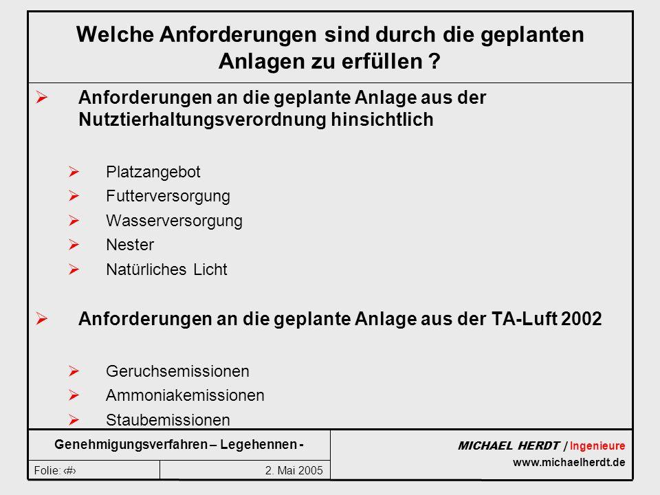 2. Mai 2005Folie: 4 MICHAEL HERDT | Ingenieure www.michaelherdt.de Genehmigungsverfahren – Legehennen - Welche Anforderungen sind durch die geplanten