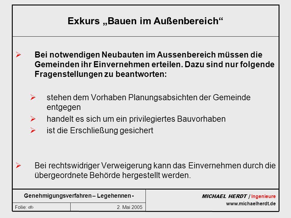 2. Mai 2005Folie: 5 MICHAEL HERDT | Ingenieure www.michaelherdt.de Genehmigungsverfahren – Legehennen - Exkurs Bauen im Außenbereich Bei notwendigen N