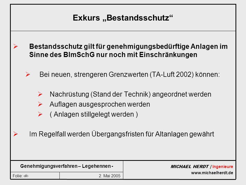 2. Mai 2005Folie: 6 MICHAEL HERDT | Ingenieure www.michaelherdt.de Genehmigungsverfahren – Legehennen - Exkurs Bestandsschutz Bestandsschutz gilt für