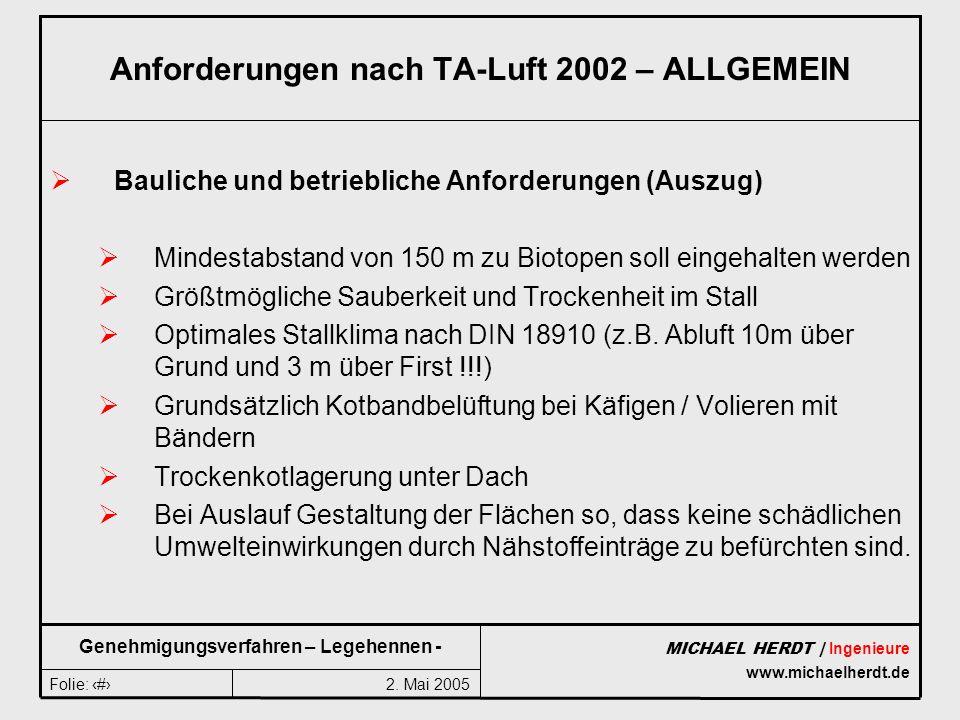 2. Mai 2005Folie: 8 MICHAEL HERDT | Ingenieure www.michaelherdt.de Genehmigungsverfahren – Legehennen - Anforderungen nach TA-Luft 2002 – ALLGEMEIN Ba