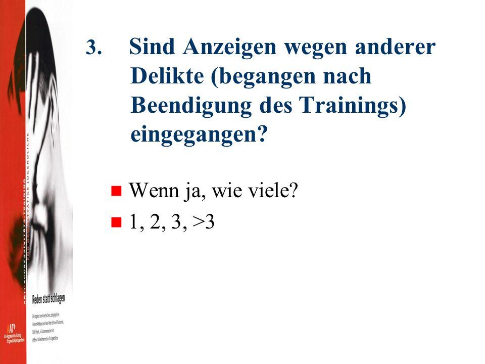 3. Sind Anzeigen wegen anderer Delikte (begangen nach Beendigung des Trainings) eingegangen.